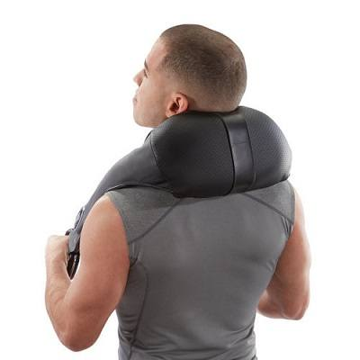 Brookstone Cordless Shiatsu Neck & Back Massager used on neck.